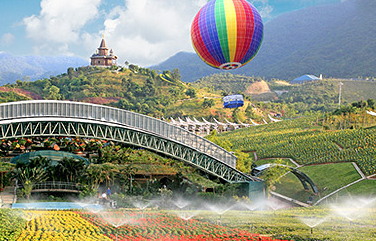 主题乐园内有水公园,峡湾森林,海菲德小镇,生态峡谷及云海高地